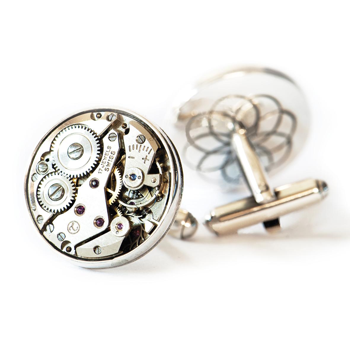 Spinki srebro mechanizm od zegarka