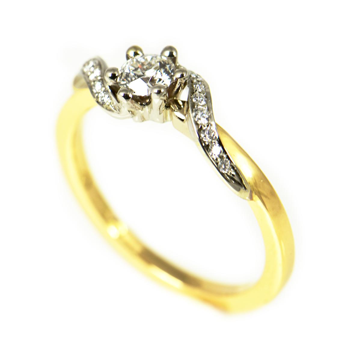 pierścionek z białego i żółtego złota z brylantami
