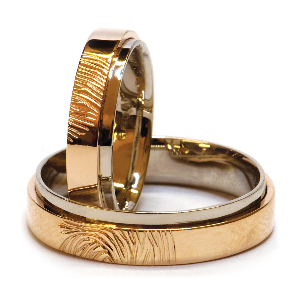 Obrączki złote z odciskami palców