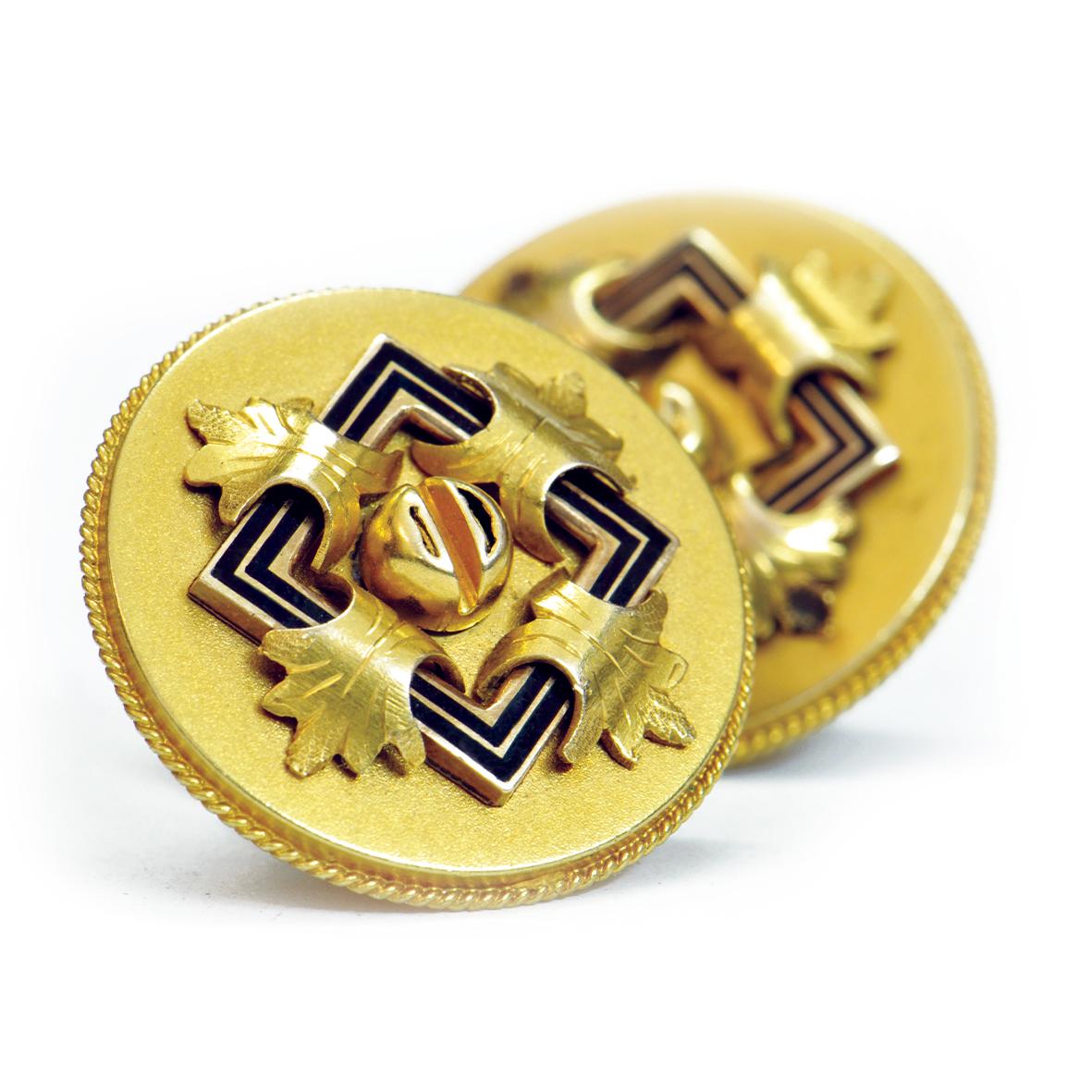 Spinki ze złota z emalią
