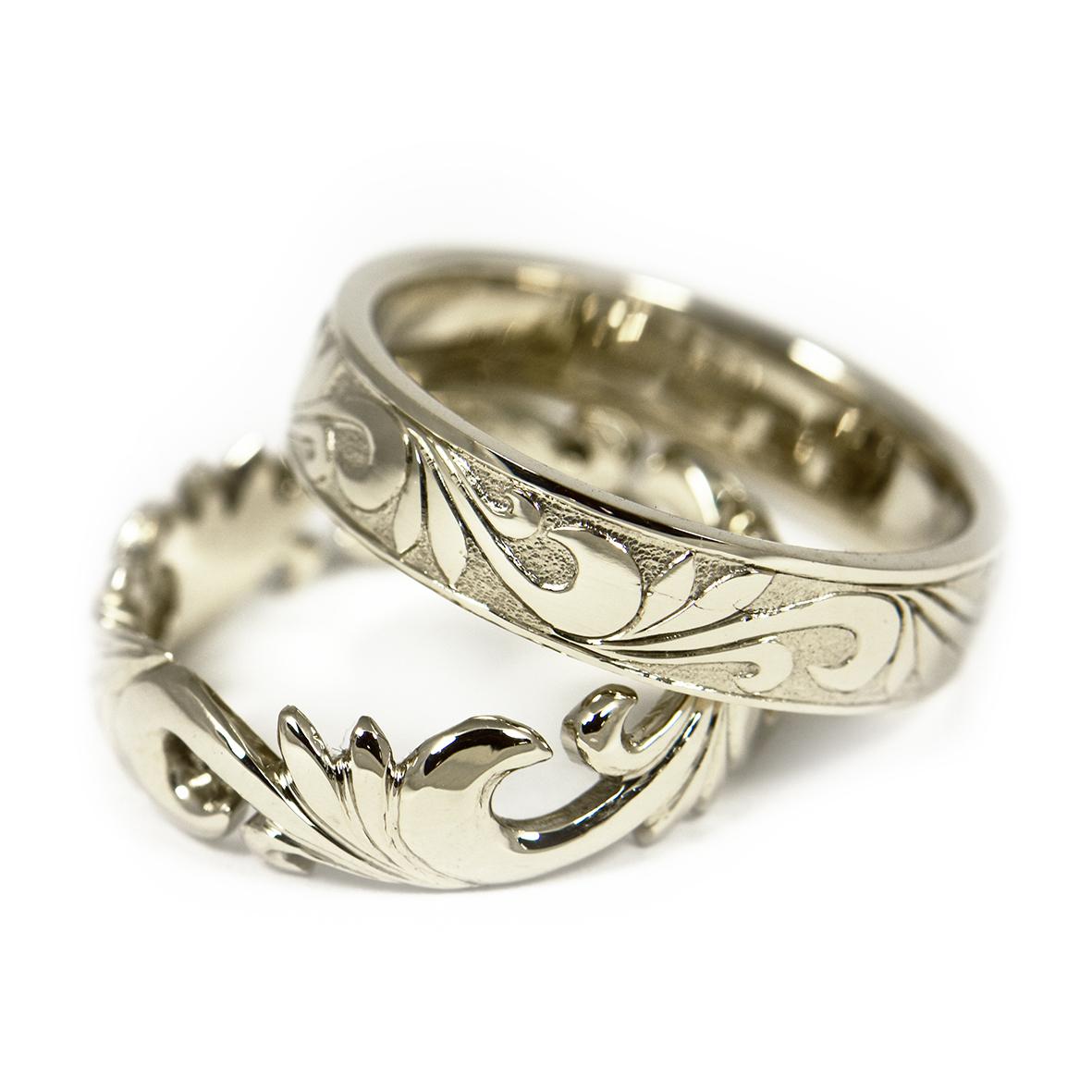 Obrączki z białego złota cyzelowane