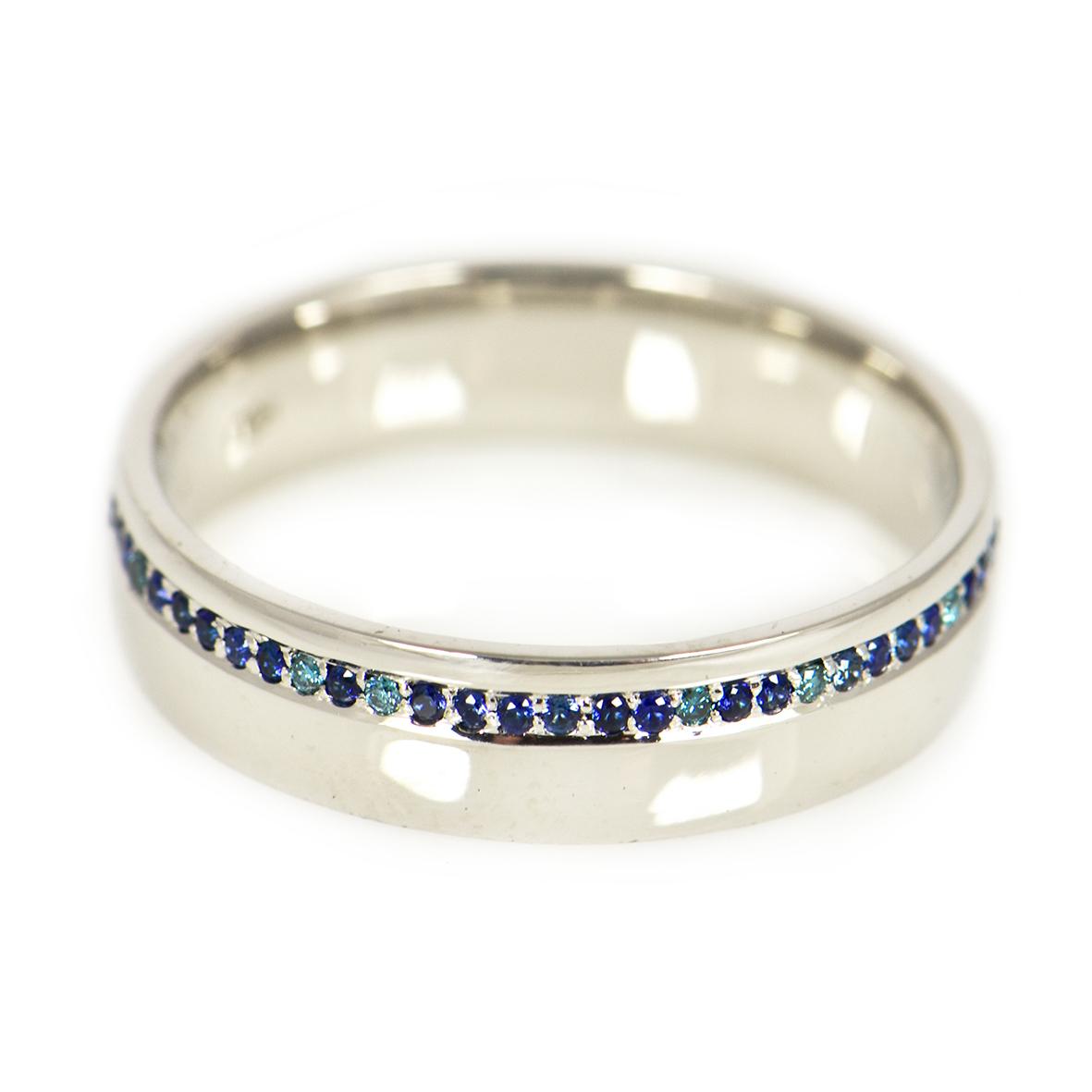 Rojewscy Biżuteria- obrączki z szafirami i niebieskimi diamentami