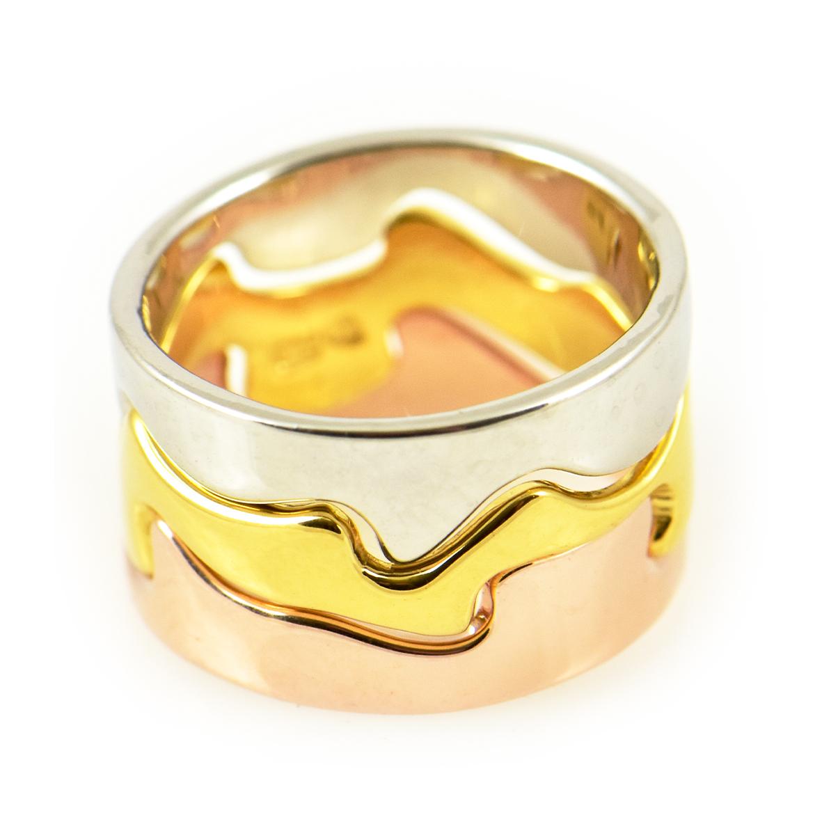 Pierścionek srebrny pozłacany 3 kolorami złota
